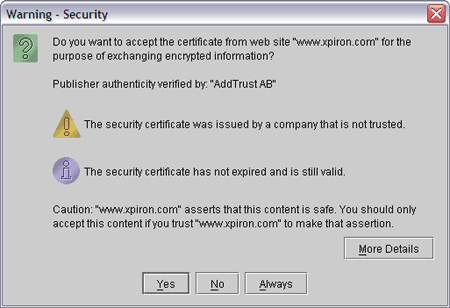 Java warning popup